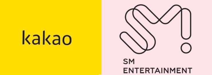 Corporate logos of Kakao and SM Entertainment / Courtesy of each firm