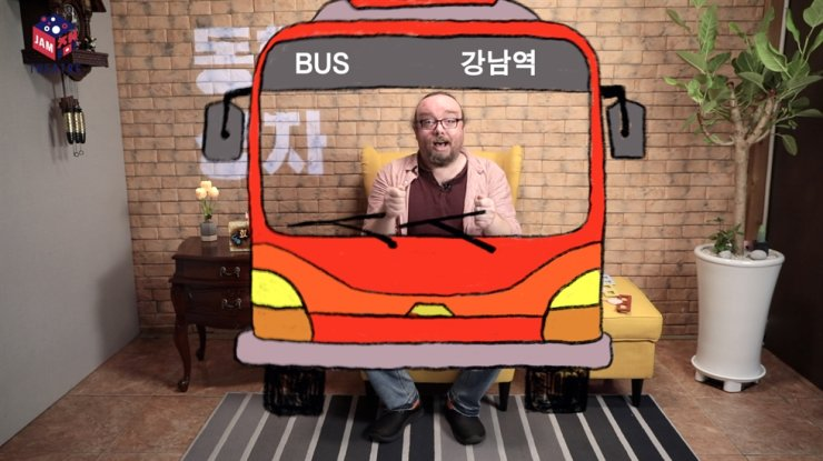 Paul Matthews drives a bus for the 'Three Little Pigs' as part of Jam Box Theatre's 'Fairy Tale Box' storytelling video series. / Courtesy of Jam Box Theatre