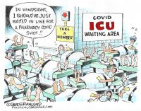 COVID vax line vs ICU line