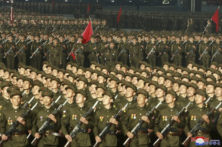 In this photo provided by the North Korean government, North Korean solders parade during a celebration of the nation's 73rd anniversary that was overseen by leader Kim Jong-un at Kim Il Sung Square in Pyongyang, North Korea, Sept. 9. AP-Yonhap