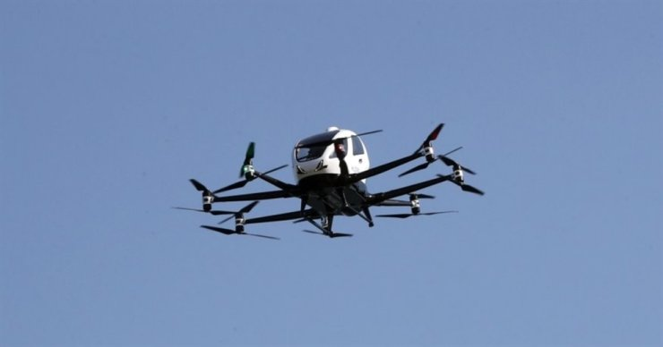 A drone taxi flies above Yeouido in Seoul during a test flight event on Nov. 11, 2020. Yonhap