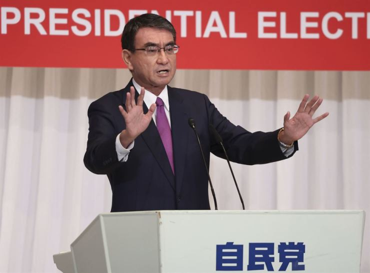 Taro Kono, Japan's regulatory reform and vaccine minister and a prime minister candidate of the country's ruling Liberal Democratic Party, delivers a campaign speech during online election campaigning in Tokyo, Friday. AP-Yonhap