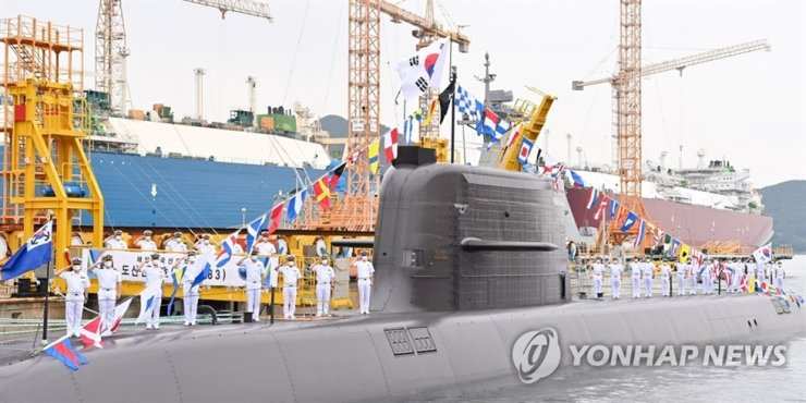 This file photo, provided by Navy, shows the 3,000-ton-class Dosan Ahn Chang-ho submarine to be equipped with ballistic missiles.