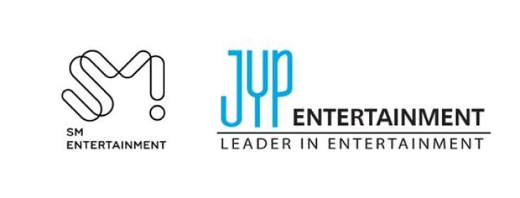 Corporate logos of SM Entertainment and JYP Entertainment / Courtesy of each company