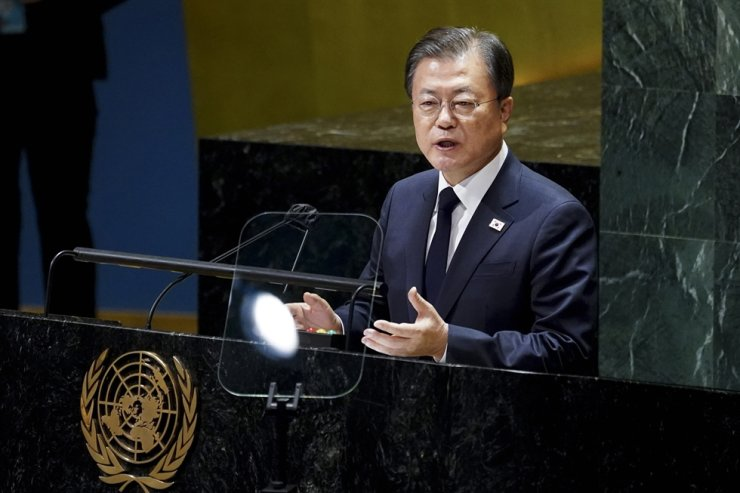 President Moon Jae-in addresses the 76th session of the United Nations General Assembly in New York, Tuesday (EST). Yonhap