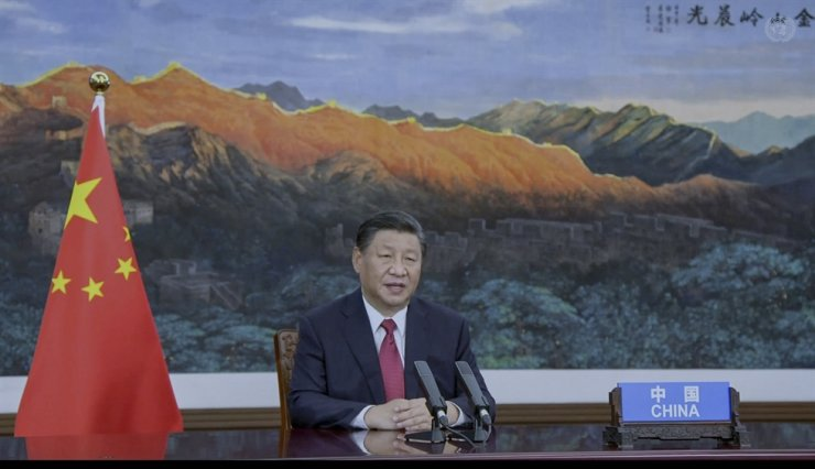 In this image to taken from video provided by UN Web TV, China's President Xi Jinping remotely addresses the 76th session of the United Nations General Assembly in a pre-recorded message, at the U.N. headquarters in New York City, Sept. 21. AP-Yonhap