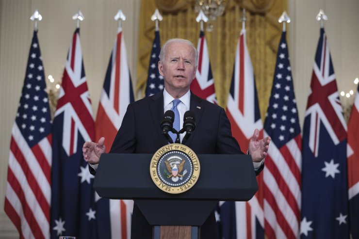 U.S. President Joe Biden delivers remarks about a national security initiative in the East Room of the White House in Washington, Sept. 15. EPA-Yonhap