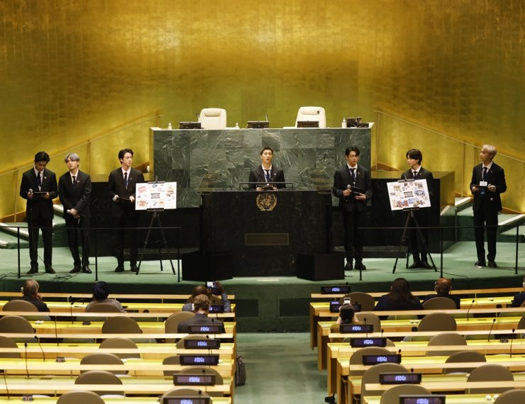 Members of South Korean K-pop band BTS, from left, V, Suga, Jin, RM, Jung Kook, Jimin and J-Hope appear at the United Nations meeting on Sustainable Development Goals during the 76th session of the U.N. General Assembly at UN headquarters on Sept. 20. AP-Yonhap