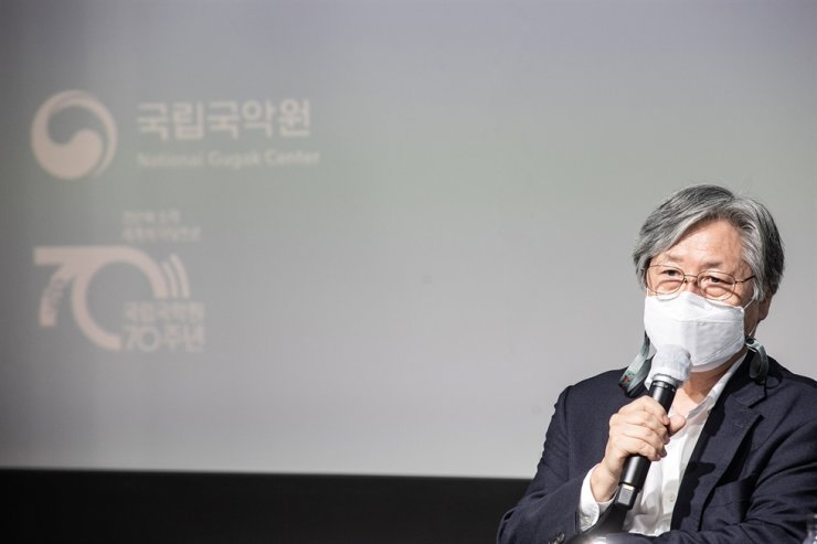 Kim Young-woon, newly-appointed director general of the National Gugak Center, speaks during a press conference held at the center in Seoul, Tuesday. Courtesy of National Gugak Center