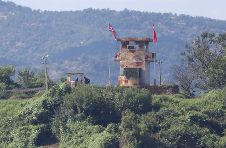 A North Korean military guard post is seen from Paju, South Korea, near the border with North Korea, Sept. 8. Yonhap
