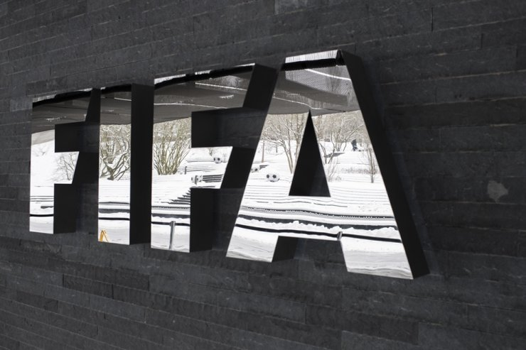 In this 2017 January file photo, the FIFA logo is pictured at the Home of FIFA in Zurich, Switzerland. AP-Yonhap