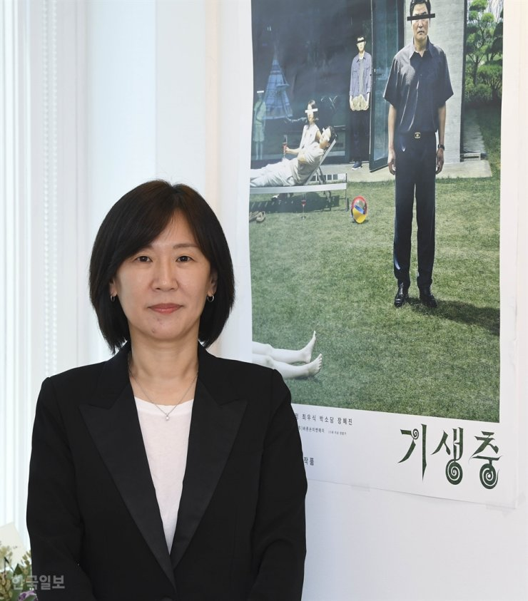 Kwak Sin-ae, CEO of Barunson E&A, which produced 'Parasite' (2019) / Korea Times file