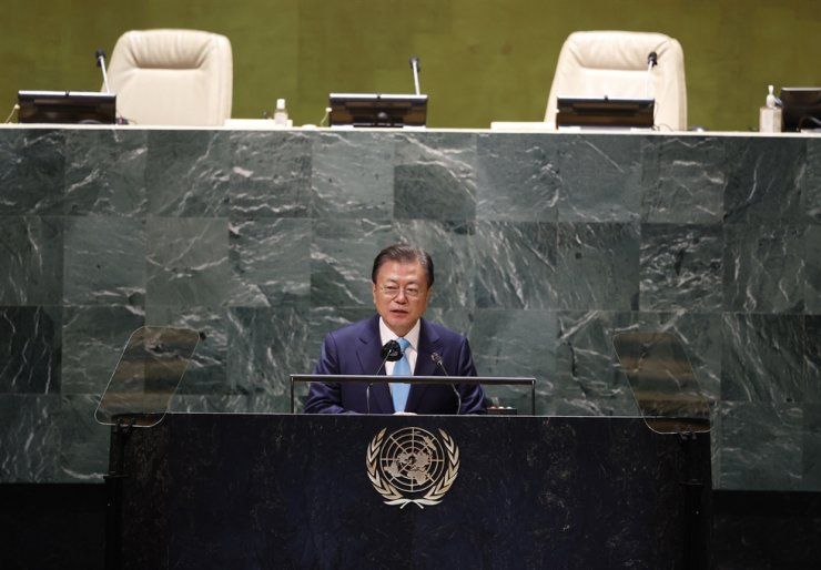 President Moon Jae-in speaks at the Sustainable Development Goals during the 76th session of the United Nations General Assembly, at the United Nations Headquarters, Sept. 20, in New York City. Korea's 'fake news' bill, if passed, could give a 'negative message' to the world about the country's stance on freedom of press, a U.S. expert said Friday. AP-Yonhap