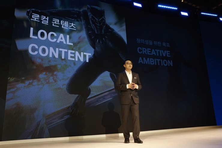 Jay Trinidad, Walt Disney Company's general manager of the direct-to-consumer division in the Asia-Pacific region, speaks during an Asia-Pacific content showcase of streaming service Disney+ in Seoul, Thursday. Courtesy of Walt Disney Company Korea