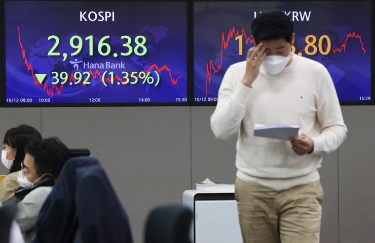 An electronic signboard in the dealing room of Hana Bank in Seoul shows the benchmark Korea Composite Stock Price Index having plunged 39.92 points, or 1.35 percent, to close at 2,916.38, Oct. 12. Yonhap