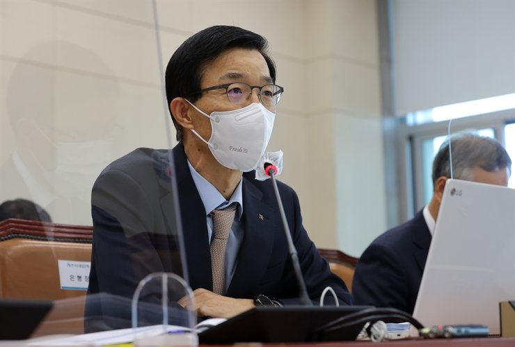 Export-Import Bank of Korea (Eximbank) CEO Bang Moon-kyu speaks during a National Assembly audit of the state lender, Wednesday. Yonhap