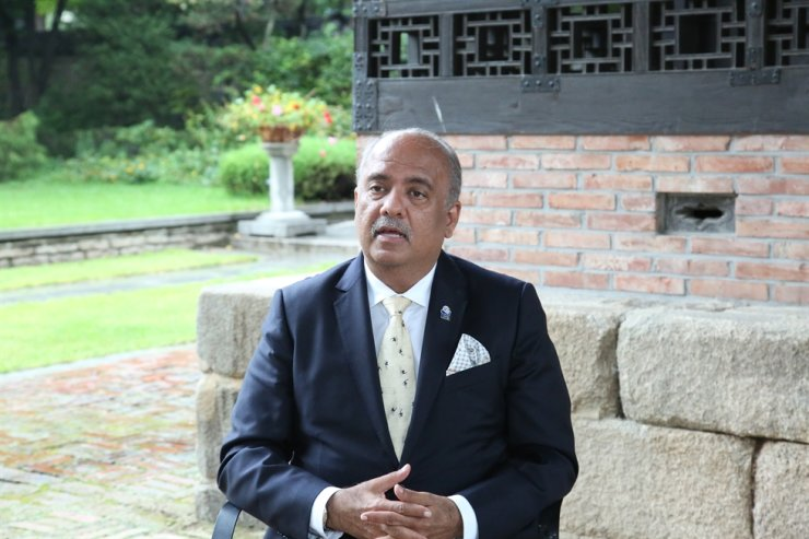 Rotary International President Shekhar Mehta speaks during an interview with The Korea Times in Anguk-dong, Seoul, Oct. 8. Courtesy of Rotary Korea
