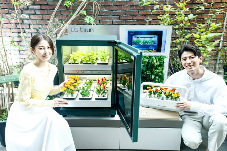 Models pose with LG Electronics' indoor plant cultivator 'tiiun' at a pop-up store in Seongsu-dong in eastern Seoul, Thursday. Courtesy of LG Electronics