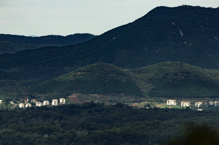 A North Korean village is seen from Paju, South Korea, near the border with North Korea, Oct. 12. Yonhap
