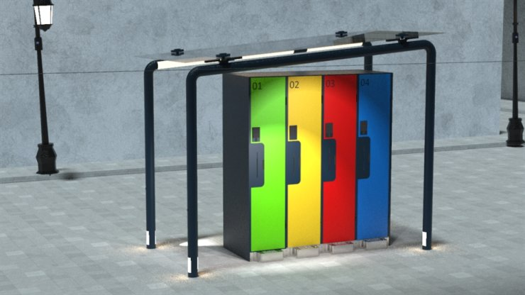 Seen are digital lockers developed by Alec Conway from the U.K. Conway designed the lockers to offer secure storage spaces for homeless people, winning the U.K.'s first Samsung Solve for Tomorrow competition in July. Courtesy of Samsung Electronics