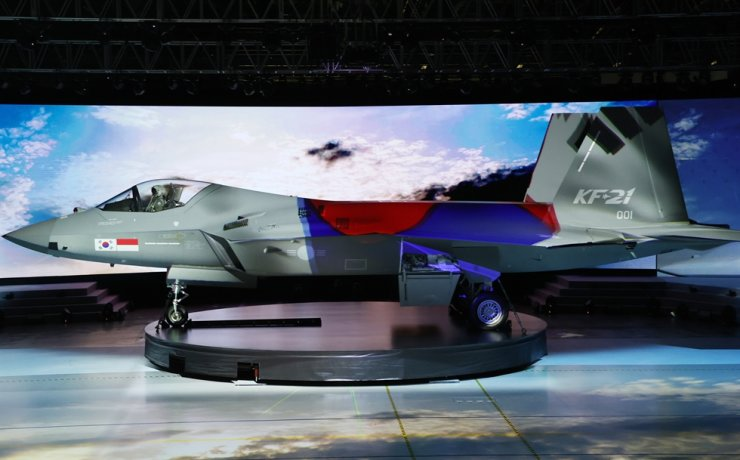 Seen above is the prototype of the KF-21 Boramae fighter jet displayed at Korea Aerospace Industries (KAI) in Sacheon, South Gyeongsang Province. April 9. Yonhap