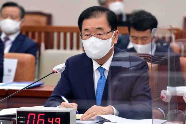 Foreign Minister Chung Eui-yong speaks during a National Assembly audit session, Oct. 1. Yonhap