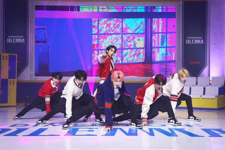 K-pop boy group ENHYPEN performs during an online press event Tuesday. Courtesy of Belift Lab