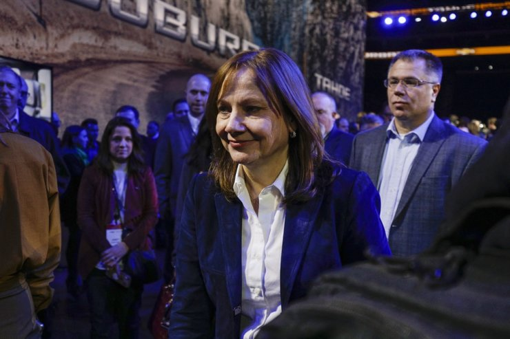 General Motors Chair and CEO Mary Barra appears at the unveiling of the 2021 Chevrolet Suburban and 2021 Chevrolet Tahoe SUVs at Little Caesars Arena in Detroit, Mich. AFP-Yonhap
