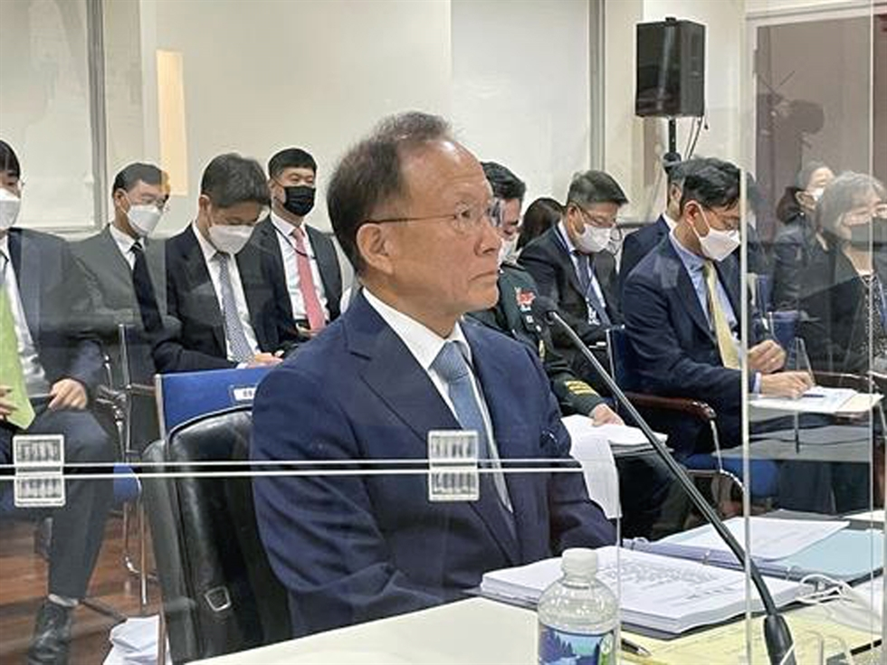South Korean Ambassador to the United States Lee Soo-hyuck, at podium, delivers his opening remarks at the start of an annual parliamentary audit at the South Korean Embassy in Washington, Oct. 13. Yonhap