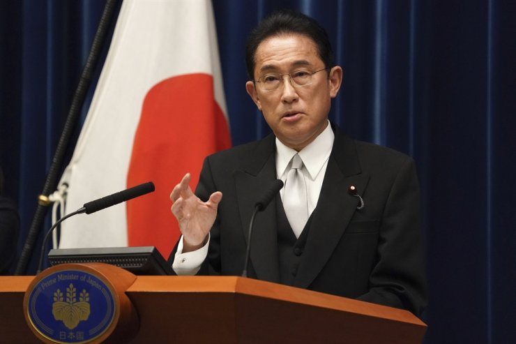 Fumio Kishida, Japan's new prime minister, speaks during a news conference at his official residence in Tokyo, Japan, Monday. AP-Yonhap