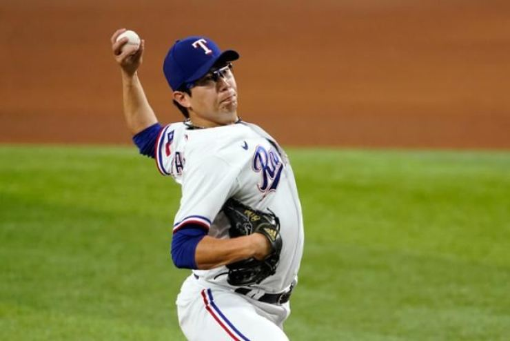 In this Aug. 29 file photo, Yang Hyeon-jong of the Texas Rangers pitches against the Houston Astros during the top of the seventh inning of a Major League Baseball regular season game at Globe Life Field in Arlington, Texas. AP-Yonhap