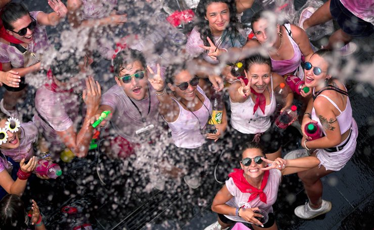 People celebrate at the start of La Vaquilla festival in Teruel, Spain, 06 July 2019, a tradition dating back to 1982. EPA