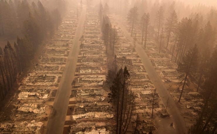 In this aerial photo, a burned neighborhood is seen in Paradise, California on November 15, 2018. AP
