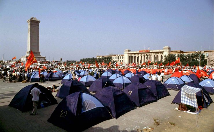 <span>Pro-democracy demonstrators pitch tents in Beijing's Tiananmen Square, China, May 31, 1989. Reuters</span><br /><br />