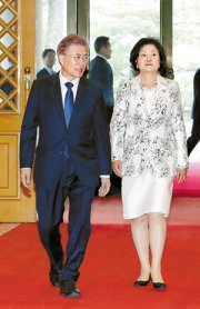 President Moon Jae-in and first lady Kim Jung-sook walk into the main building at Cheong Wa Dae, Wednesday. / Yonhap