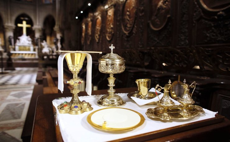 This file photo taken on November 29, 2012 shows a view of items used by priests for an evening Vespers mass in the Notre-Dame de Paris Cathedral in Paris. AFP