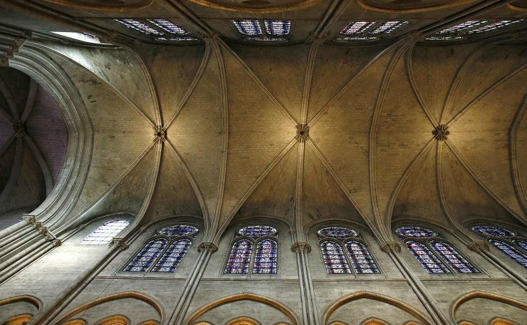 This file photo taken on November 29, 2012 shows a view of the stone ceiling inside the Notre-Dame de Paris cathedral in Paris. AFP