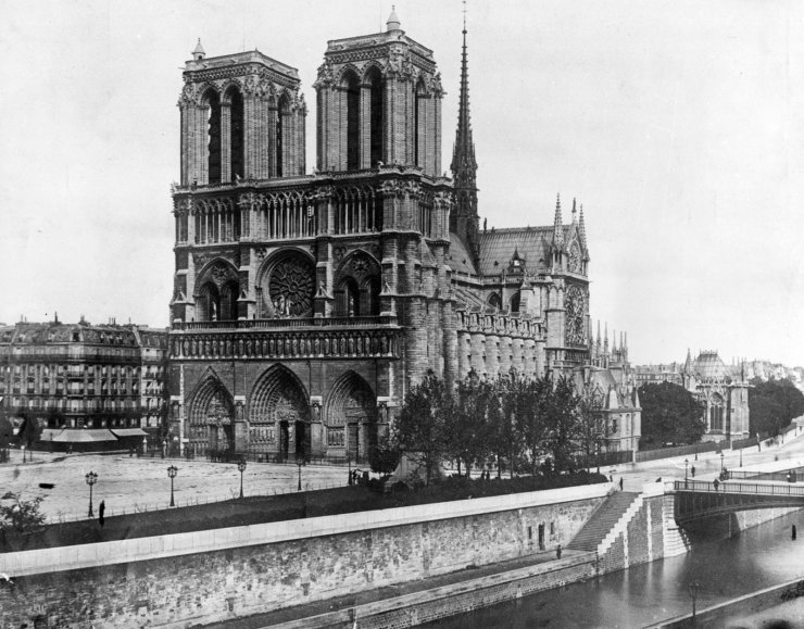 This 1911, file photo shows the Notre Dame Cathedral, on the island called Ile de la Cite in Paris. Art experts around the world reacted with horror to news of the fire that ravaged cathedral on Monday, April 15, 2019.
