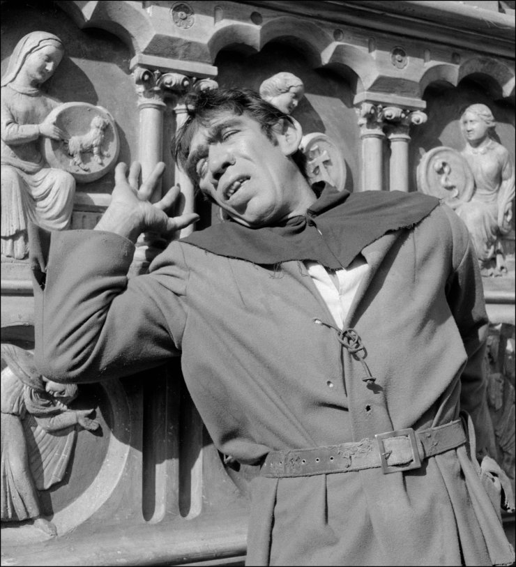 In this file photo taken on July 12, 1956 shows American actor Anthony Quinn playing the role of Quasimodo in 'Notre Dame de Paris' (The Huntchback of Notre Dame), a film by Jean Delannoy, 1956. AFP