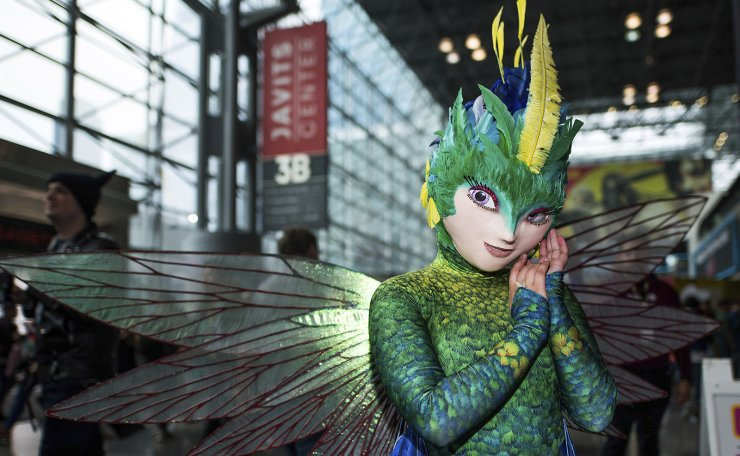 An attendee dressed as Toothiana the tooth fairy from 'Rise of the Guardians' poses during New York Comic Con at the Jacob K. Javits Convention Center on Sunday, Oct. 6, 2019, in New York. AP