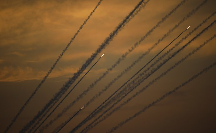 Rockets are launched from Gaza Strip to Israel, Sunday, May 5, 2019. Palestinian militants in the Gaza Strip on Sunday intensified a wave of rocket fire into southern Israel, striking towns and cities across the region while Israeli forces struck dozens of targets throughout Gaza, including militant sites that it said were concealed in homes or residential areas. AP