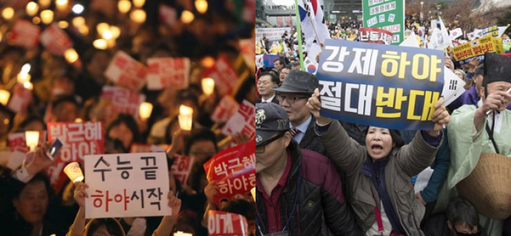 High school students call for resignation of President Park Geun-hye over the influence-peddling scandal involving her close confidant and aides during a rally in central Seoul, Saturday, in the left photo. In the right photo, a participant of a pro-Park rally nearby holds a banner that reads, 'Opposition to forcible resignation.' / Yonhap