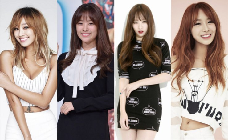 Hyorin of Sistar (left), Song Ji-eun of Secret, Hani of EXID, and Uji of Bestie