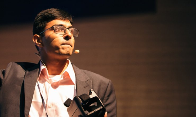 Preksh Innovations co-founder, Sathvik Muralidhar, introduces his business at the K-Startup Grand Challenge event, at the Pangyo Startup Campus, Gyeonggi Province, on Aug. 17. / Courtesy of Preksh Innovations