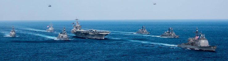The U.S. Navy's Carl Vinson Strike Group holds a joint exercise with South Korean warships in the East Sea in this undated file photo provided by South Korea's Navy. / Yonhap