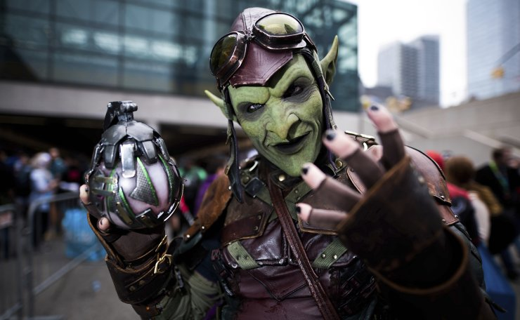 An attendee dressed as the Green Goblin from Spider-Man poses during New York Comic Con at the Jacob K. Javits Convention Center on Sunday, Oct. 6, 2019, in New York. AP