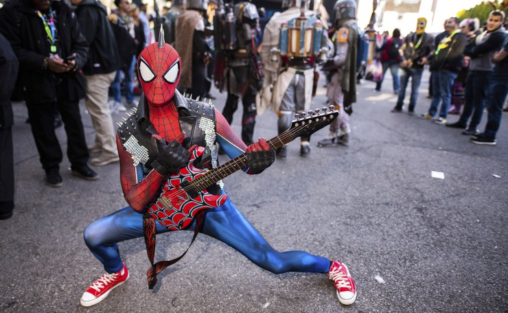 An attendee dressed as a punk rock Spider-Man poses during New York Comic Con at the Jacob K. Javits Convention Center on Saturday, Oct. 5, 2019, in New York. AP