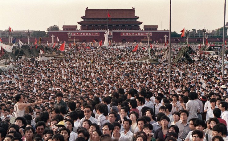 This file photo taken on June 2, 1989 shows people gathered at Tiananmen Square during a pro-democracy protest in Beijing. AFP