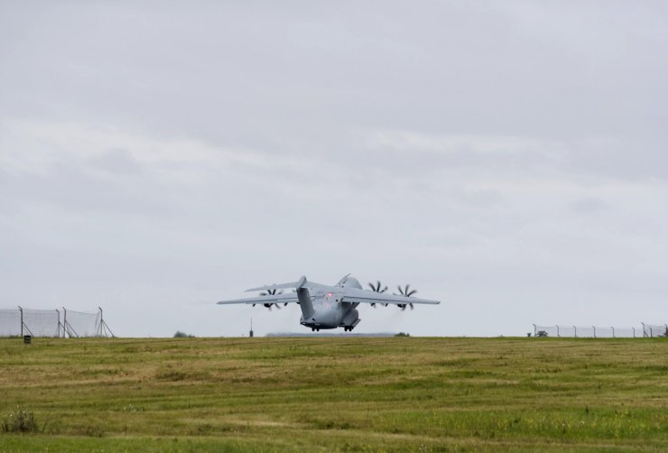 In this photo provided by the French Defense Ministry, a military Airbus A400M takes off to evacuate French citizens from Afghanistan, Monday, Aug.16, 2021 in Orleans, central France. France is relocating its embassy in Kabul to the airport to evacuate all citizens still in Afghanistan, initially transferring them to Abu Dhabi. Evacuations have been in progress for weeks and a charter flight put in place by France in mid-July. AP