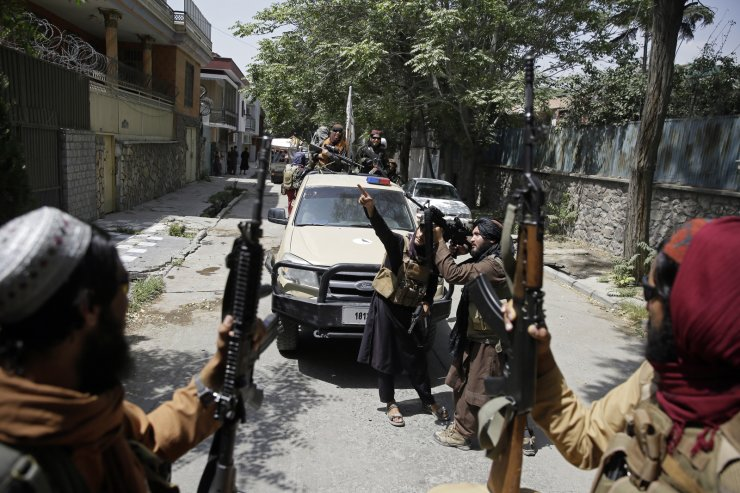 Taliban fighters patrol in Kabul, Afghanistan, Thursday, Aug. 19, 2021. The Taliban celebrated Afghanistan's Independence Day on Thursday by declaring they beat the United States, but challenges to their rule ranging from running a country severely short on cash and bureaucrats to potentially facing an armed opposition began to emerge. AP